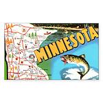 1940's Minnesota Map Sticker (Rectangle)