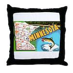 1940's Minnesota Map Throw Pillow