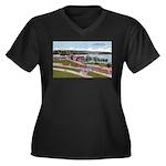 Wildwood Park Women's Plus Size V-Neck Dark T-Shir
