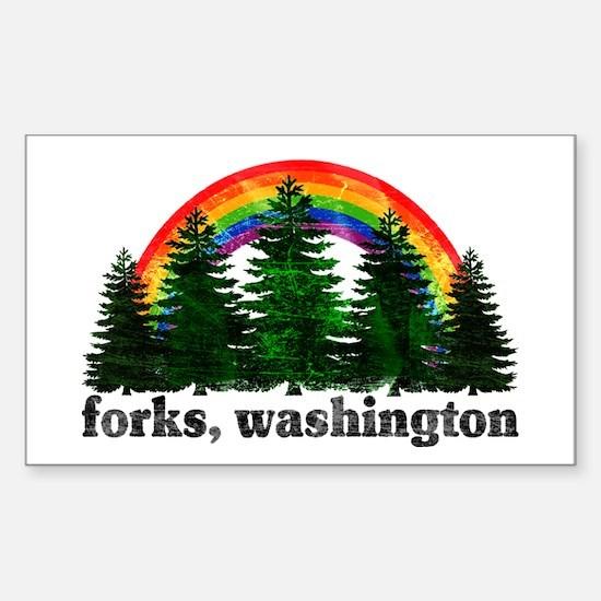 Forks, Washington Vintage Rai Rectangle Decal