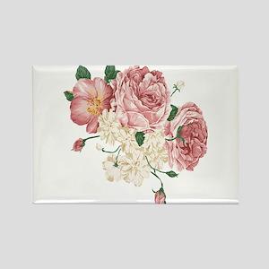 Pink Roses Flower Rectangle Magnet