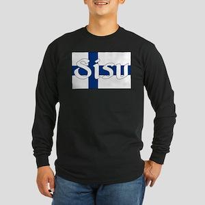 Finnish Sisu (Finnish Flag) Long Sleeve Dark T-Shi