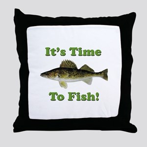 """Genuine Walleye """"It's Time to Fish"""" Throw Pillow"""