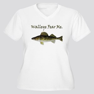 Walleye Fear Me Women's Plus Size V-Neck T-Shirt