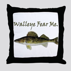 Walleye Fear Me Throw Pillow