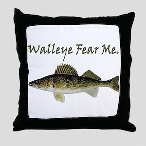 Walleye Fear Me Throw Pillow