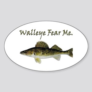 Walleye Fear Me Oval Sticker