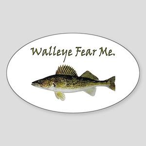 Walleye Fear Me Oval Sticker