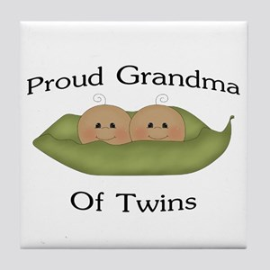 Proud Grandma Of Twins Tile Coaster