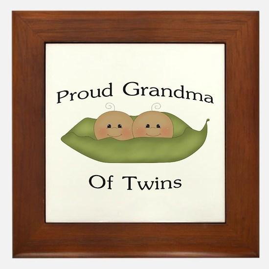 Proud Grandma Of Twins Framed Tile