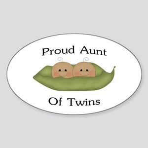 Proud Aunt Of Twins Oval Sticker
