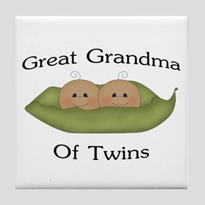 Great Grandma Of Twins Tile Coaster