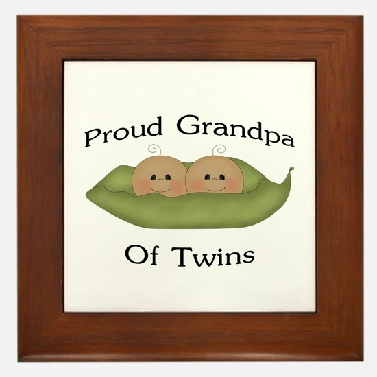 Proud Grandpa Of Twins Framed Tile