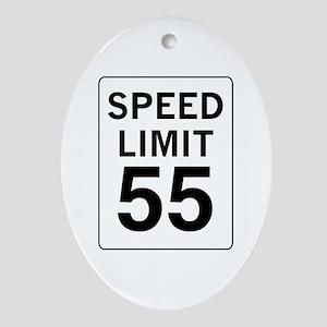 Speed Limit 55 Oval Ornament