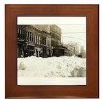 Snowed-in Front Street Framed Tile