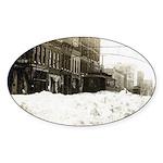 Snowed-in Front Street Oval Sticker (10 pk)
