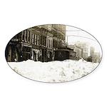Snowed-in Front Street Oval Sticker