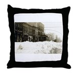 Snowed-in Front Street Throw Pillow