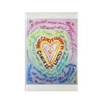Rainbow Heart Cancer Rectangle Magnet