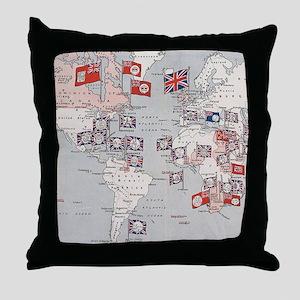 Vintage British Empire World Map (191 Throw Pillow