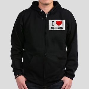 "I Love ""Up North"" Minnesota Zip Hoodie (dark)"
