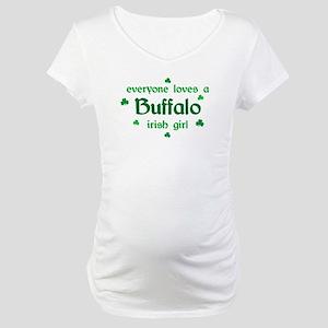 everyone loves a Buffalo irish girl Maternity T-Sh