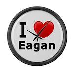 I Love Eagan Large Wall Clock