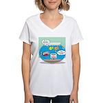 Piranha Guard Fish Women's V-Neck T-Shirt