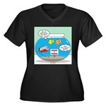 Piranha Guar Women's Plus Size V-Neck Dark T-Shirt