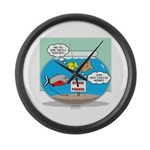 Piranha Guard Fish Large Wall Clock