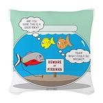 Piranha Guard Fish Woven Throw Pillow