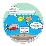 Piranha Guard Fish Round Car Magnet