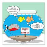 Piranha Guard Fish Square Car Magnet 3