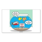 Piranha Guard Fish Sticker (Rectangle)
