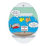 Piranha Guard Fish Oval Ornament