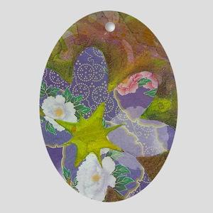 Purple Flower Oval Ornament