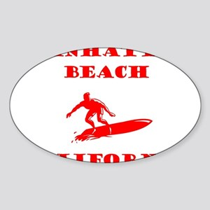 ManhattanBeachSurfer1-RED Sticker
