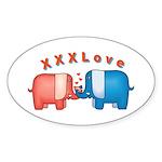 Elephants Love Oval Sticker