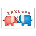 Elephants Love Rectangle Sticker