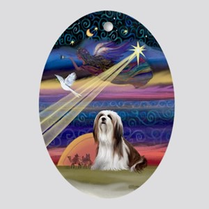 Lhasa Christmas Star Oval Ornament