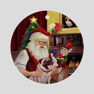 Santa & His Fawn Pug Ornament (Round)