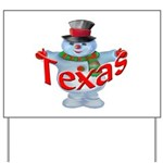 Texas Snowman Yard Sign