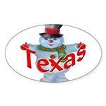Texas Snowman Oval Sticker