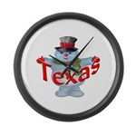 Texas Snowman Large Wall Clock
