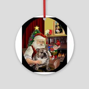 Santa's English Bulldog Ornament (Round)