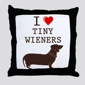 Tiny Wiener Dachshund Throw Pillow
