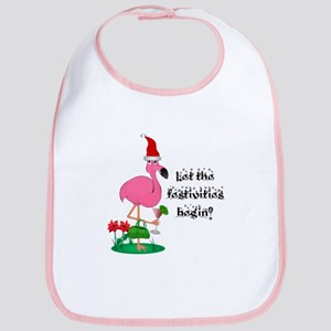 Christmas flamingo Bib