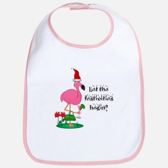 Christmas flamingo Bib