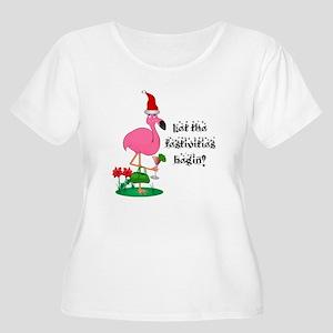 67009c001f023 Christmas Flamingo Women s Plus Size T-Shirts - CafePress
