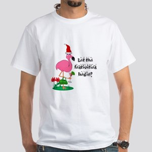 Christmas flamingo White T-Shirt